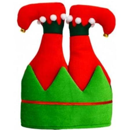 Christmas Hat.Upside Down Red And Green Elf Christmas Hat With Legs
