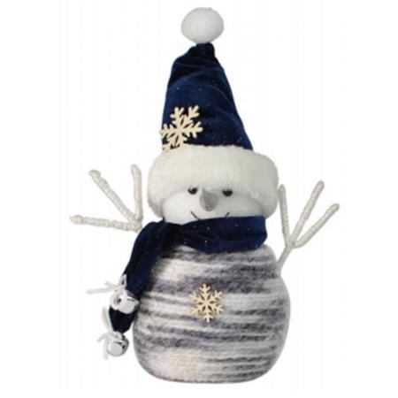 16cm Blue and White Fabric Snowman Christmas Decoration
