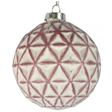 100mm Matt Rose Pink and White Geometric Glass Bauble Christmas Tree Decoration 1