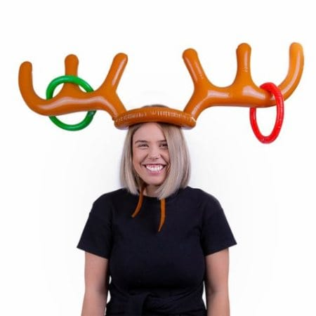 Inflatable Christmas Reindeer Antlers Ring Toss Headband