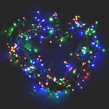 200 Multi Colour LED Fairy Lights on Green Wire 14 metres