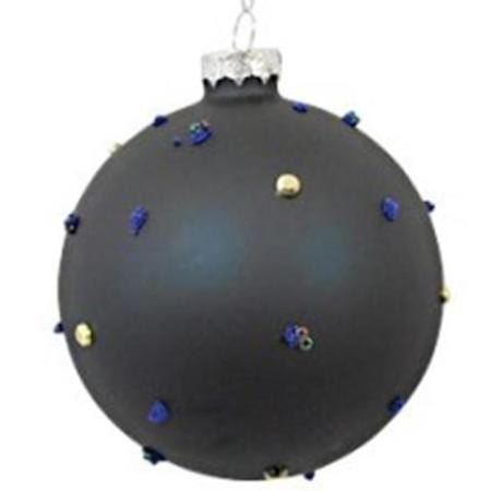80mm Blue Beaded Glitter Glass Bauble Christmas Tree Decoration B