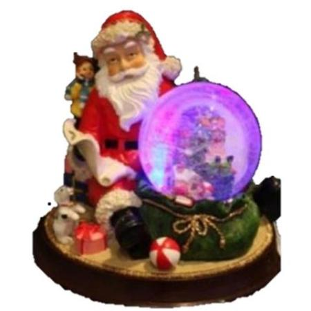 LED Poly Resin Santa Snowball Christmas Decoration With Lights