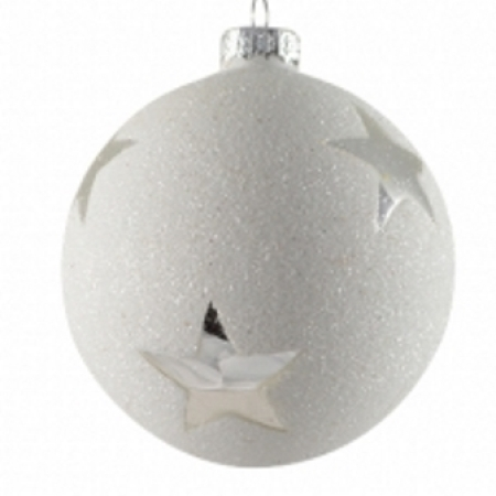 80mm Glass White Glitter Bauble with Silver Star Christmas Tree Decoration