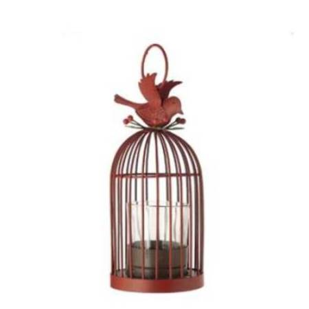 178mm Winterberry Birdcage Tealight Holder Christmas Tree Decoration in Red
