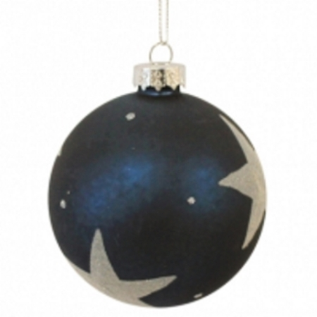 80mm Navy Blue Star Glass Christmas Tree Decoration Bauble