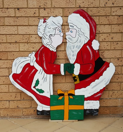 Mr and Mrs Claus Timber Christmas Cut Out Decoration