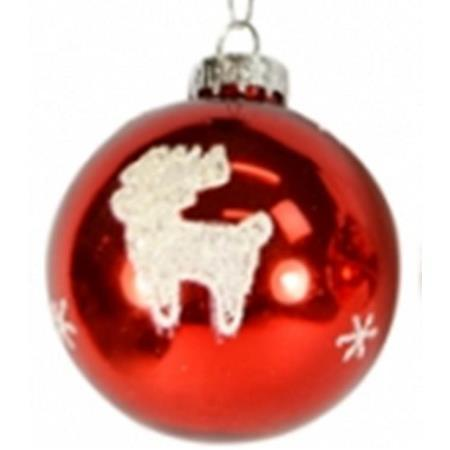 100mm Red with White Deer Glass Bauble Christmas Tree Decoration