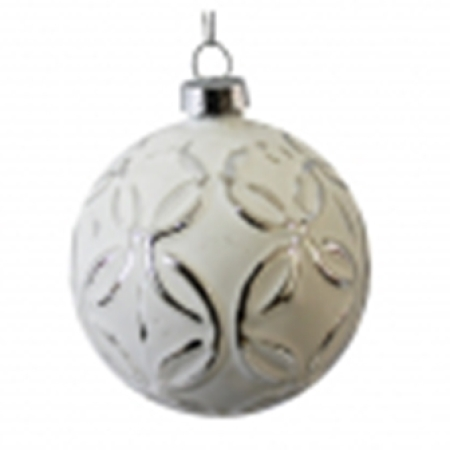 80mm Matt White Embossed Glass Christmas Tree Decoration Bauble D
