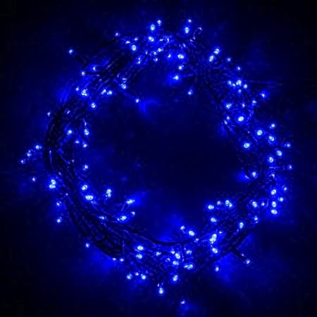 200 Blue LED Connectable Fairy Lights Green Wire 20 metres