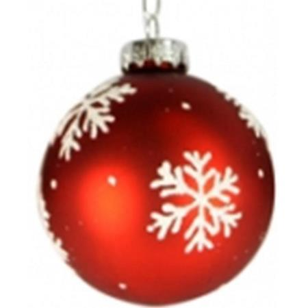 100mm Red with White Snowflake Glass Bauble Christmas Tree Decoration