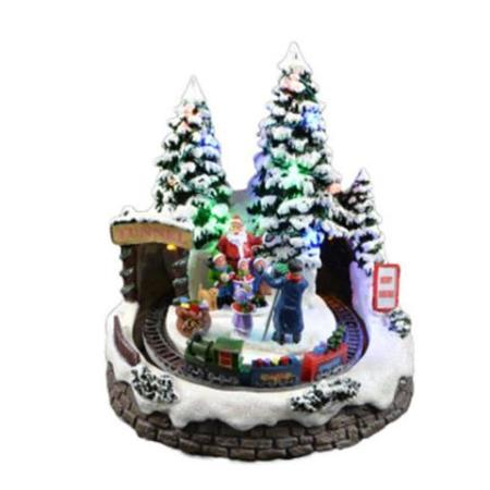 LED Light Up Christmas Village With Choir and Train Christmas Decoration
