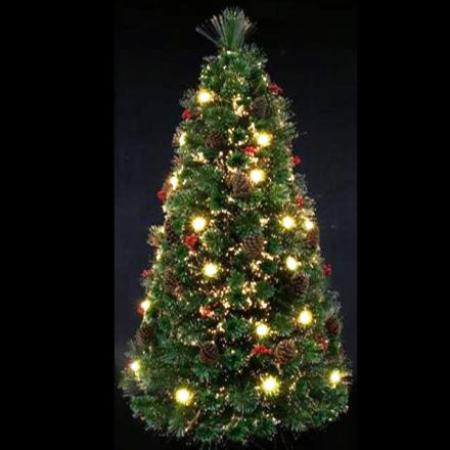 150cm Fibre Optic Christmas Tree with LED Lights and Berries
