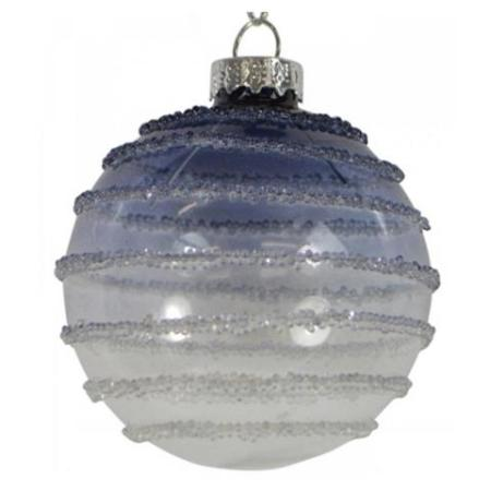 80mm Blue and White Cosmic Glitter Glass Bauble Christmas Tree Decoration