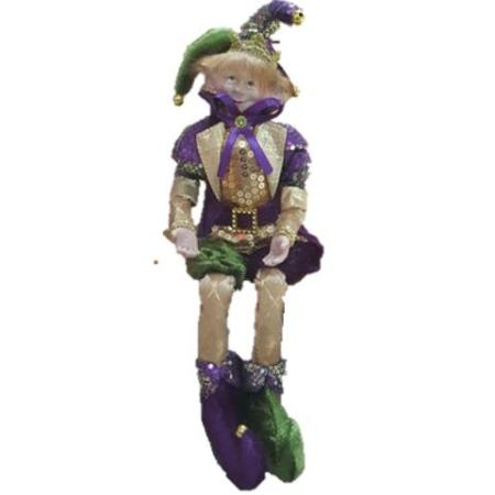 Plush 35cm Purple Green and Gold Elf Christmas Decoration