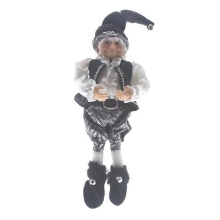 Silver Black and White Elf Christmas Decoration