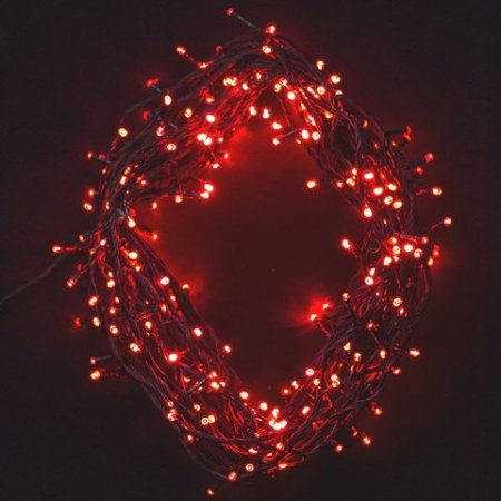 200 Red LED Fairy Lights on Green Wire 14 metres