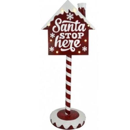 LED 91cm Metal Santa Stop Here Christmas Sign with Lights