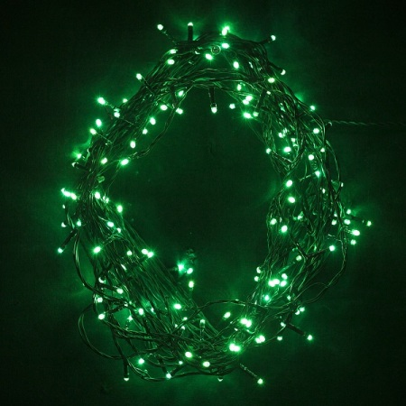 200 Green LED Fairy Lights on Green Wire 20 metres