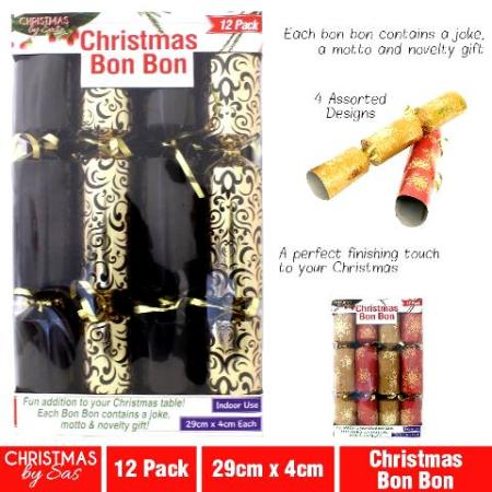 12pk Bon Bon Christmas Crackers Black and Silver with Hat, Joke and Toy