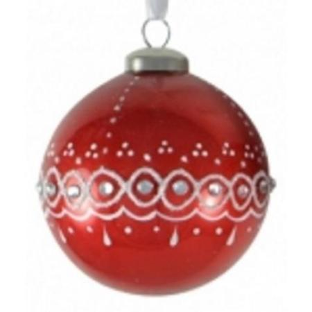80mm Red Glass Bauble with Glitter & Jewel Christmas Tree Decoration A