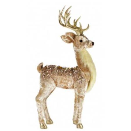 Pink Velvet Rhinestone Fabric Reindeer Christmas Ornament