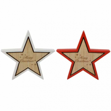 Timber Star Shape Merry Christmas Decoration