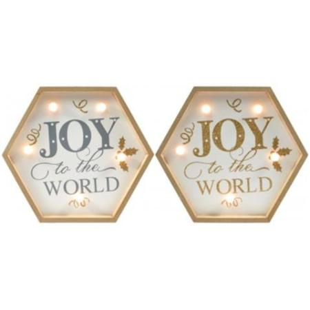 Silver Timber Light Up LED Joy to the World Frame Christmas Decoration