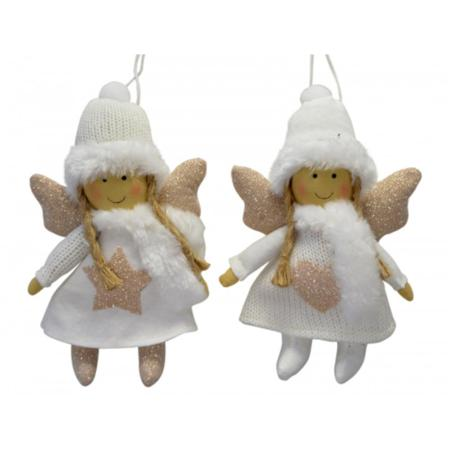 20cm Gold and White Hanging Angel Christmas Decoration 2 Assorted