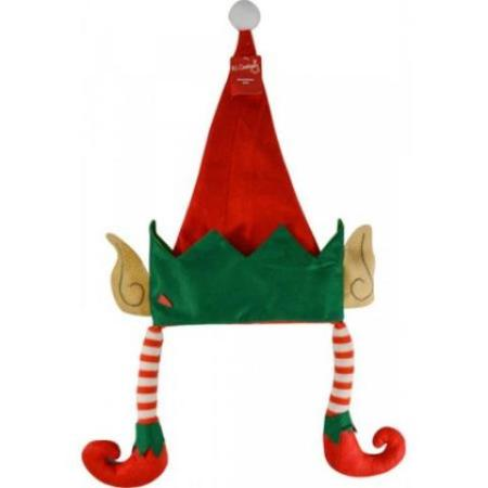 Red and Green Elf Christmas Hat with Ears and Dangly Legs