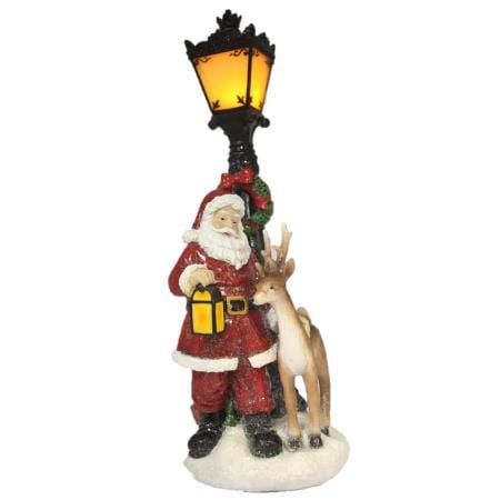 38cm Light up LED Ceramic Santa & Reindeer with Lamp Post Christmas Decoration