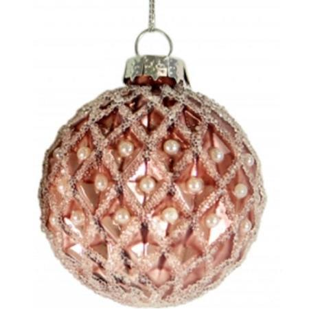 80mm Rose Pink Jewel Glitter Glass Bauble Christmas Tree Decoration 2
