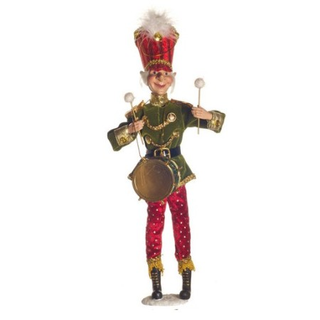 45cm Red and Green Elf Drummer Boy Christmas Decoration