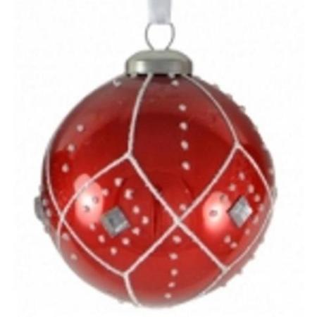 80mm Red Glass Bauble with Glitter & Jewel Christmas Tree Decoration B