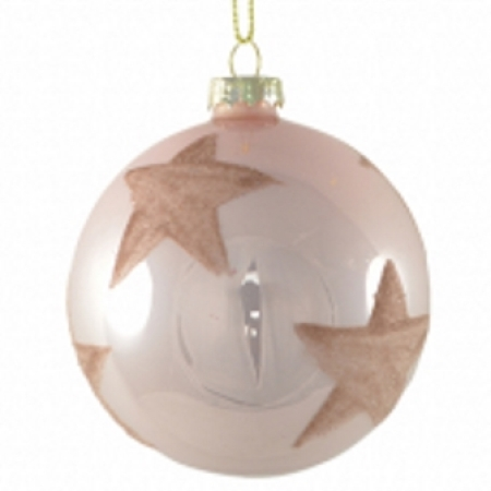 80mm Glass Pink Bauble with Glitter Star Christmas Tree Decoration
