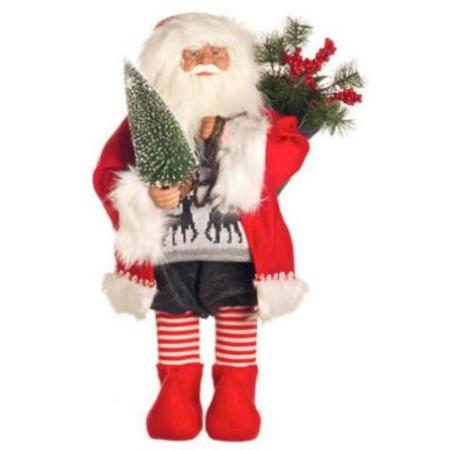 65CM Traditional Standing Santa Holding Tree
