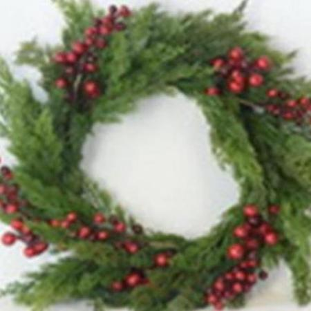 50cm Green Leaf and Red Berry Wreath Christmas Decoration