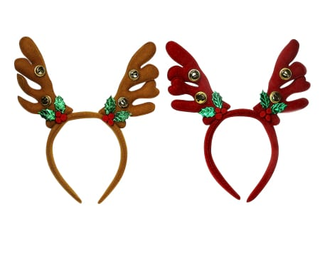 Christmas Reindeer Antlers with Bells and Holly Headband