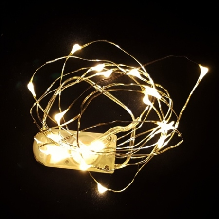 20L 2M Battery Operated Warm White Wedding LED Fairy Light String on Wire Cable 2 x CR3023 batteries included