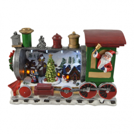 Led Poly Resin Santa Train With Music Christmas Decoration With Lights