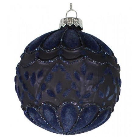 80mm Midnight Blue Royal Textured Glass Bauble Christmas Tree Decoration