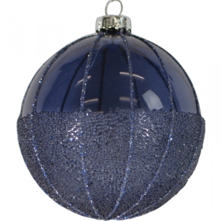 80mm Beaded Midnight Blue Glass Bauble Christmas Tree Decoration