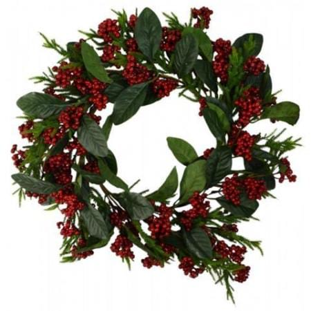 50cm Red Berry and Leaf Wreath Christmas Decoration