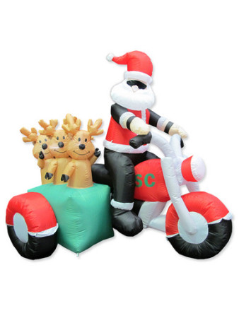 Christmas inflatables motorcycle santa with reindeer for Motor for inflatable decoration