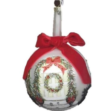 100mm White Glass Bauble with Wreath and Garland print Christmas Tree Decoration