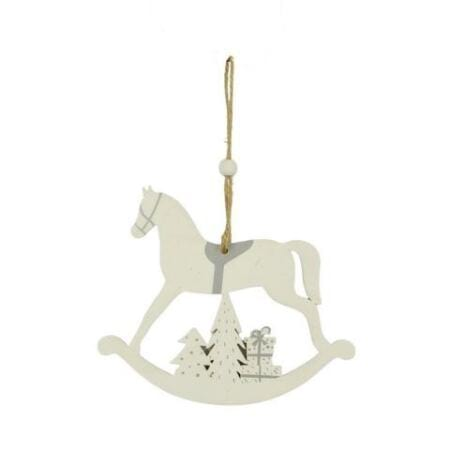 Christmas Horse Decorations.12cm White Timber Rocking Horse Hanging Christmas Tree Decoration