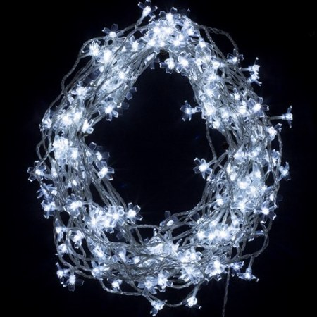 200 White LED Cherry Blossom Fairy Lights on Clear Wire 20 metres