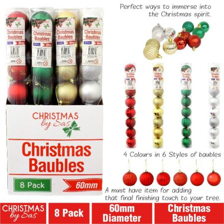 60mm Christmas Baubles Tree Decorations Packet 10