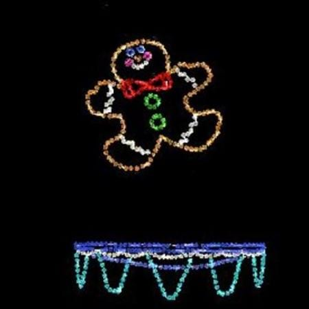 130cm led rope light gingerbread man on trampoline christmas light motif