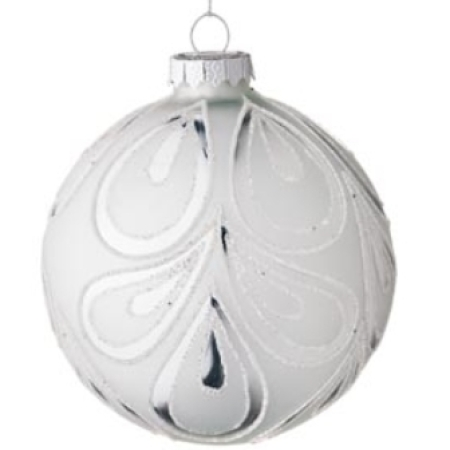 100mm Pearl Glass Bauble with White Glitter Swirl Christmas Tree Decoration